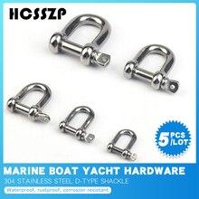 5 Pcs D Shackle Stainless Steel 304 Breaking Load 60-520 kg Rigging Clasp Hooks Boat Hardware Marine Grade Dee