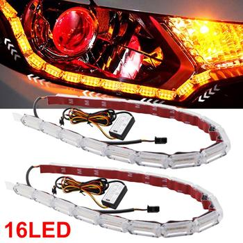 цена на 2pcs DRL LED Strip Flexible Daytime Running Light Waterproof White Driving Light Yellow Flowing Turn Signal For Car Motorcycle