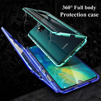 10pcs Metal Flip Phone Case for Huawei Mate 20X P30 Back Cover Double Tempered Glass Mate20 Pro P30 Pro P30e Coque