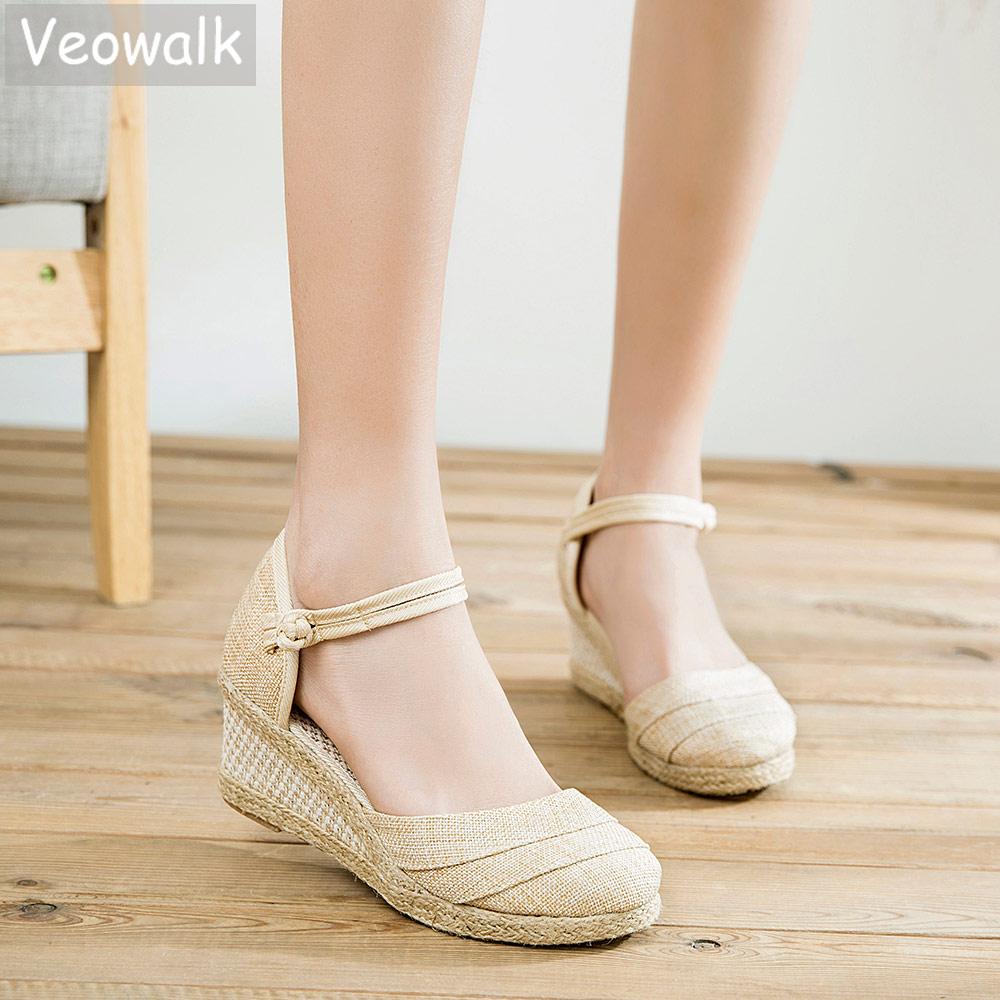 Veowalk Patchwork Handmade Women Plain Linen Sandals Wedge Espadrilles 6cm Platforms Bohemian Shoes Women Ladies Summer Pumps