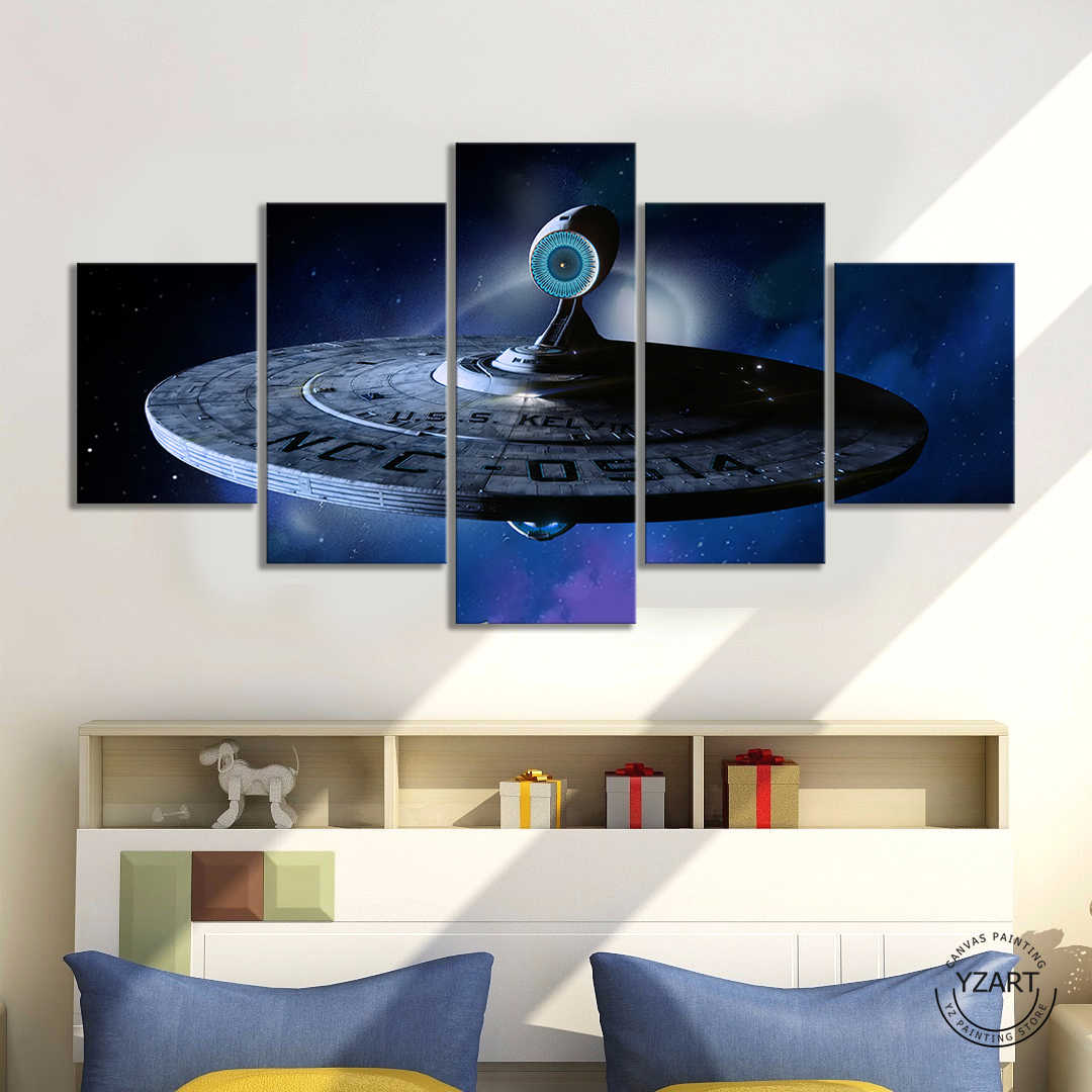 5pcs Science Fiction Movie Star Trek Poster Canvas Wall Art Painting for Living Room Wall Decor