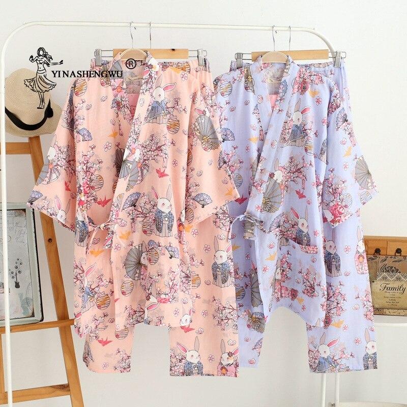 Thin Loose Cardigan Pajamas Japanese Kimono Yukata Women Set Summer Pure Cotton Rabbit And Cherry Blossom Print Home Serve Suit