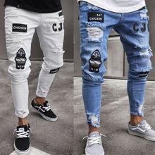 Мужские штаны, винтажные рваные джинсы, супероблегающие джинсы на молнии, джинсовые брюки с рваными краями и потертостями, брюки с героями мультфильмов в готическом стиле, Мужские штаны