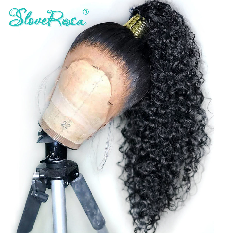 Wigs Frontal Human-Hair Slove Rosa Curly 360-Lace Brazilian Women for Black Thick-End