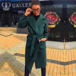 Image 2 - MVGIRLRU/женские пальто из шерсти и смески; Женские парки с карманами; Куртки с поясом; Цвет коричневый, кофейный, черный, розовый; Верхняя одежда