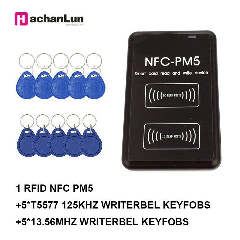 Nuevo duplicador PM5 IC 13,56 MHZ lector RFID NFC UID chip inteligente función de decodificación completa 125Khz EM4305 T5577 escritor de copiadora de tarjetas Lector de fotocopiadora de tarjetas RFID NFC, duplicador inglés, programador de frecuencia 10 para tarjetas de ID IC y todas las tarjetas 125kHz + 5 uds. ID 125k