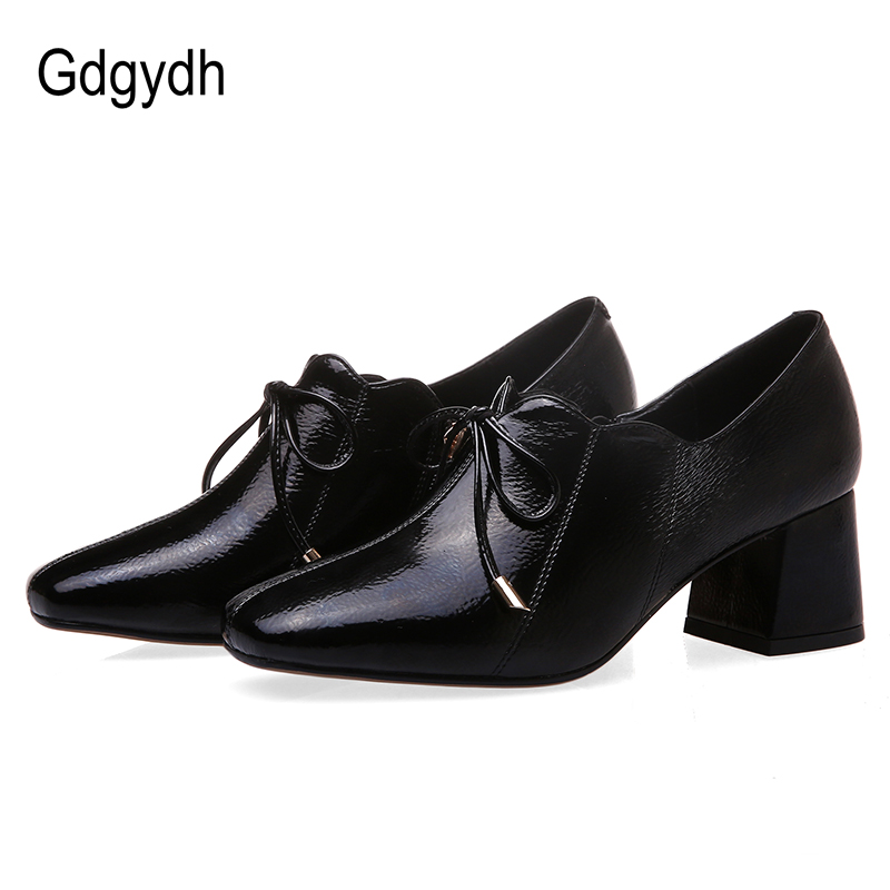 Gdgydh Plus Size Ol Office Lady Shoes Women Patent Leather Butterfly-knot Pumps And Blcok Chunky Heels Zapatos Mujer With Zipper