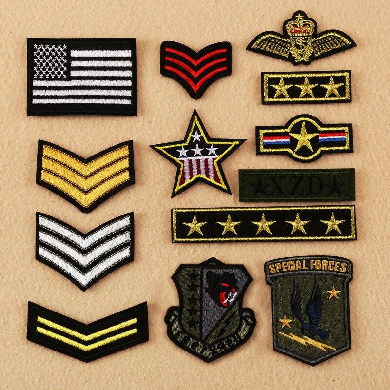 Hot Sale 13 Estilos Bordado Costurar Remendo Stripe Tático Militar Do Exército Mochila Braçadeira de Ferro-on Patches para Vestuário Listras