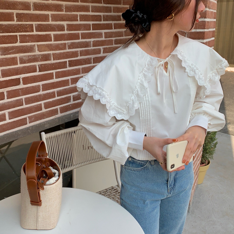 H0249dbe1ff05422d9fec0df9509f2739d - Spring / Autumn Lace-Up Collar Long Sleeves Loose pleated Solid Blouse