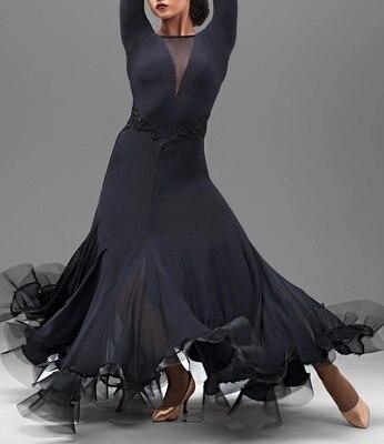Black Adult Modern Dance Costumes Women Ballroom Dance Dresses Standard Ballroom Dancing Clothe Competition Standard Dance Dress