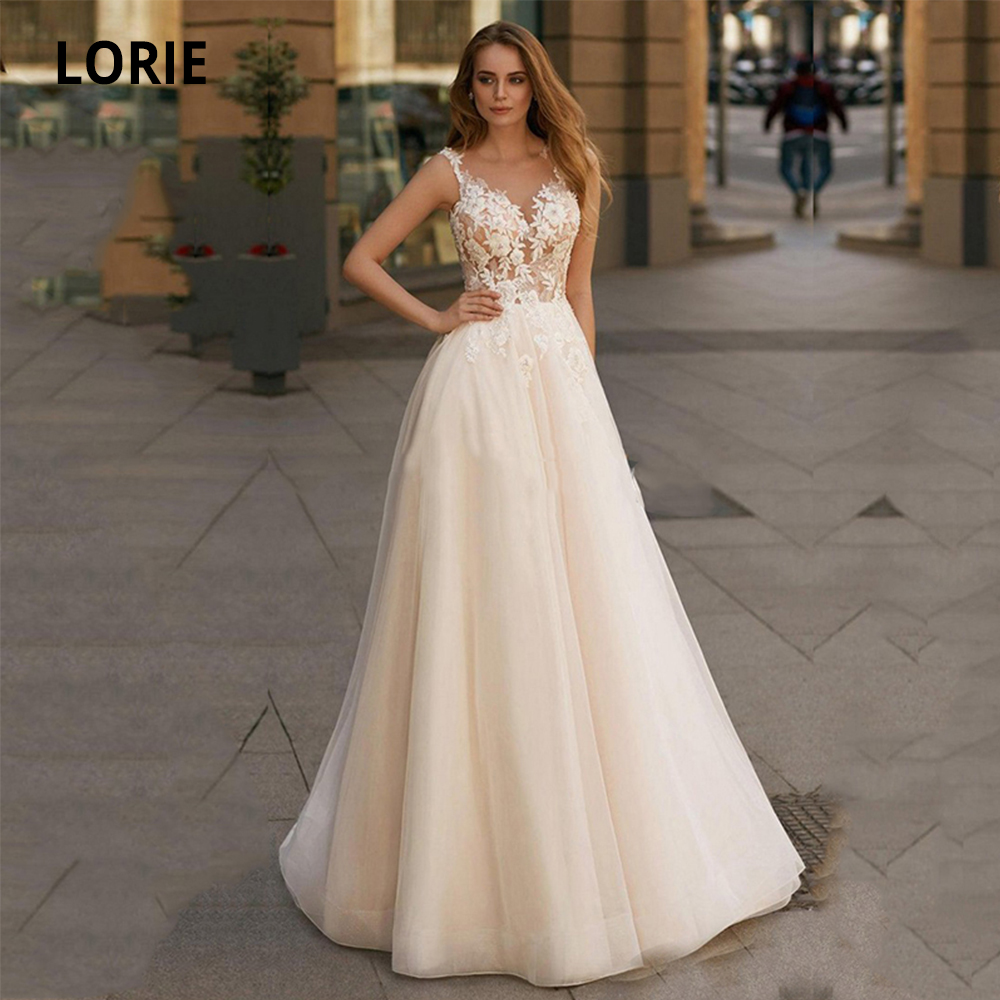 LORIE Champagne Wedding Dresses Lace 2020 Appliques Lace A-Line Tulle Custom Made Wedding Gowns Sleeveless Bridal Dress Plus Siz