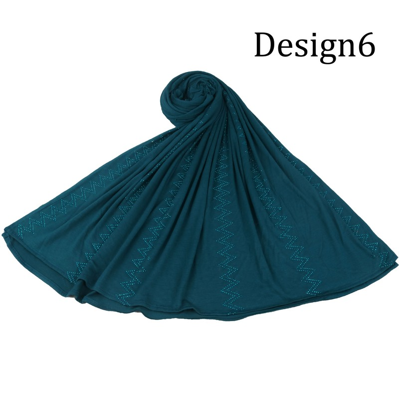 SMG  Color 2020 New Design Fashion Jersey Scarf Hijab With Pearls And Stones Muslim Lady Scarf