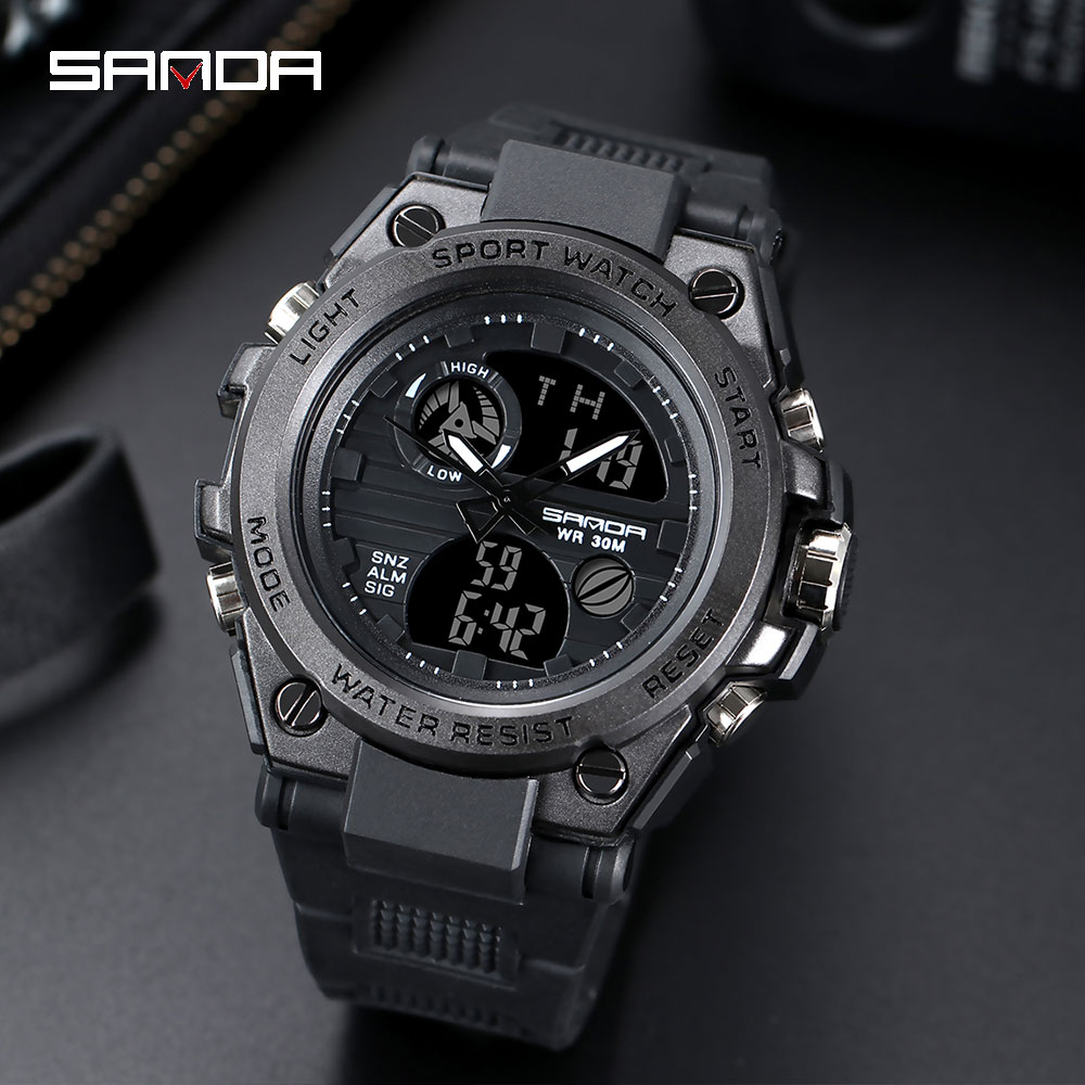 SANDA G Style Sports Men's Watches Top Brand Luxury Military Quartz Watch Men Waterproof S Shock Digital Clock Relogio Masculino