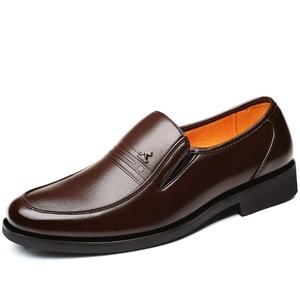 Image 2 - Large Size 46 Black formal shoes men Dress Shoes Genuine Leather shoes men Fashion Business Oxford Shoes for Men shoes leather