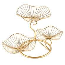 Three-layer Leaf Shaped Dinning Table Storage Tray Kitchen Organizer Fruit Plate Wedding Party Wire Basket Living Room Iron Art(China)