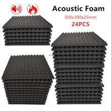 24PCS 300x300x25mm Studio Akustische Schaum Hohe Dichte Flammschutzmittel Schallschutz Schutz Schwamm Pyramide Absorption panel