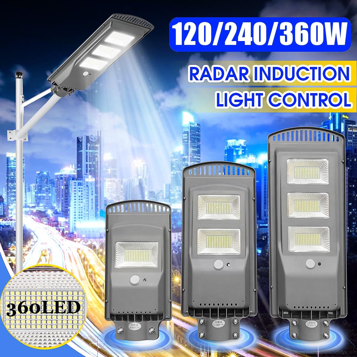Grey 120W 240W 360W LED Solar Street Light PIR Motion Sensor Outdoor Lighting Villas Garden Wall Lamp