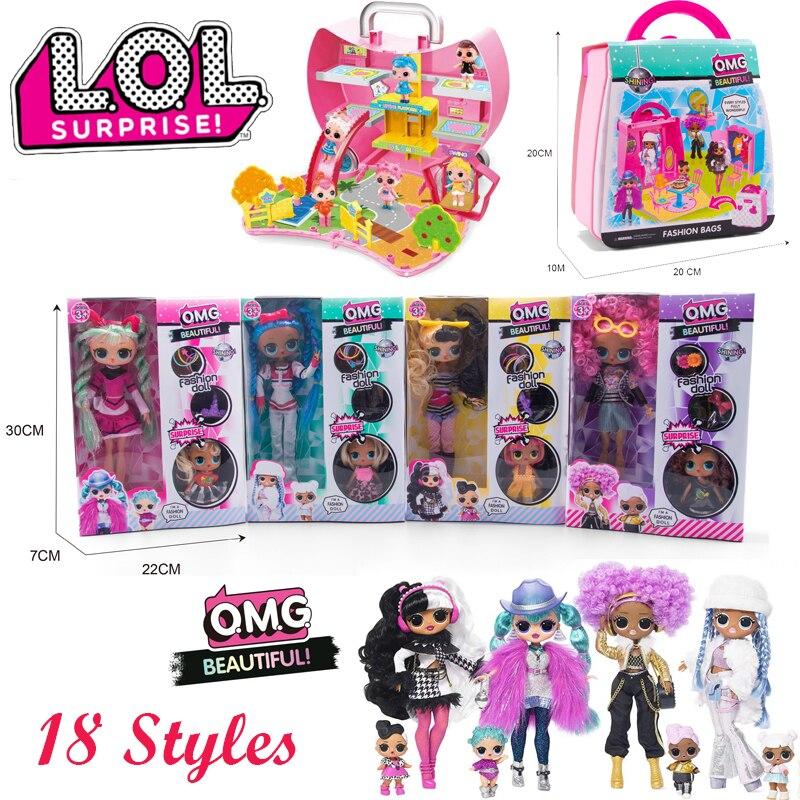 Lol surpresa boneca original conjunto dos desenhos animados humanóide vestir cena vestido menina jogo brinquedo crianças aniversário presente de natal 2cz