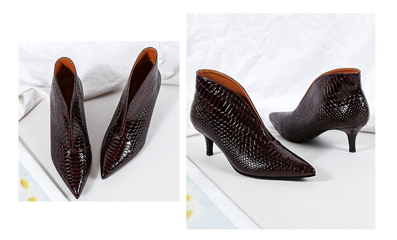 Snake Patent Leather Stilettos Pumps Women Shoes Tip Head V Mouth High Heels Women Shoes 2020 Spring Small Thin Heel Lady Pumps (13)