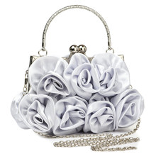 Elegant Silk Clutch Bag Wedding Evening Bags For Women Small Handbags Soft Surface Rose Floral Purse Bags With Chain Female women s elegant tassel pendant silk evening party clutch bags necessary for parties
