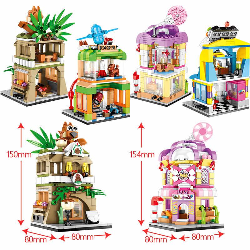DIY Mini Architecture City Street Cinema Pet ShopToy Building Blocks Bricks Set