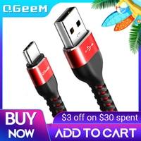 QGEEM USB tipo C cavo USB-C telefono cellulare ricarica rapida cavo caricatore USB per Samsung Galaxy S9 Huawei Mate 20 Xiaomi USB tipo-c