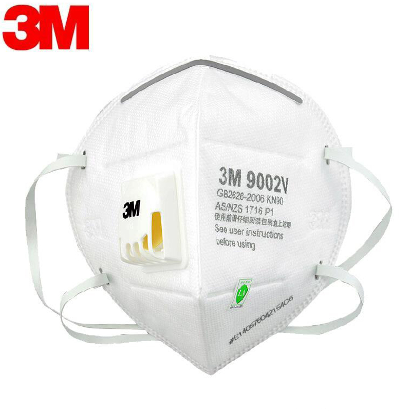 3M N95 Mask Protect With Breathing Valve KN90 9002V Face Mask Mouth Cover Filter Dustproof Protective Mask In Stock