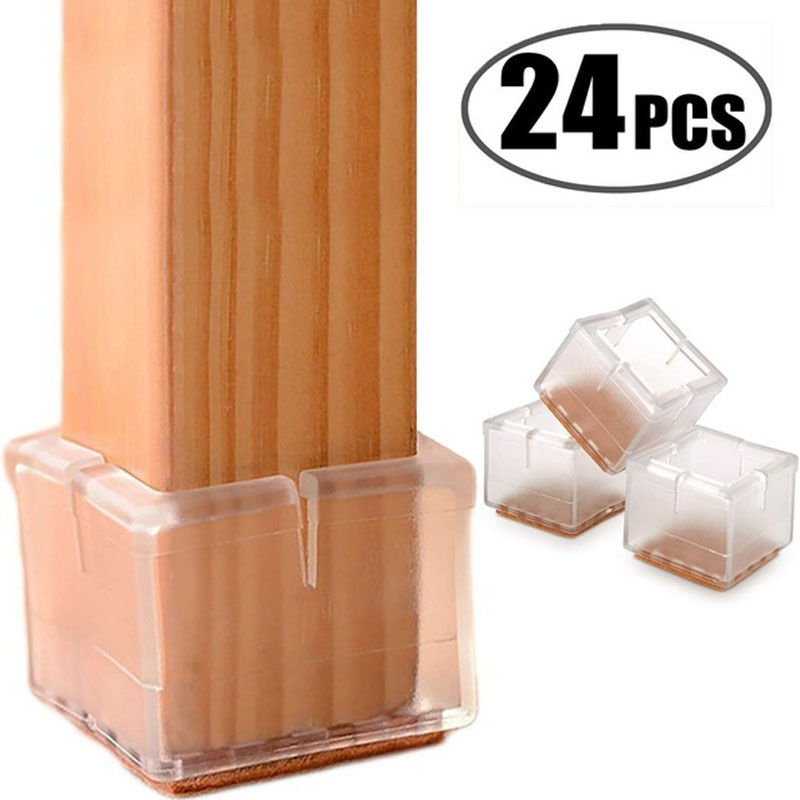 24pcs/sets Silicone Furniture Table Feet Cover Chair Leg Caps Pads Socks Floor Protectors Square Bottom Non-Slip Anti-noise Cups