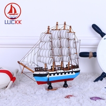 LUCKK 24CM Handmade Scandinavian Style Wooden Sailing Boat Model Home Decor Marine Wood Crafts Miniature Nautical Figurine Gifts