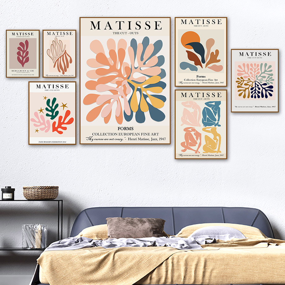 Matisse Colorful Leaf Abstract Girl Curve Wall Art Canvas Painting Nordic Posters And Prints Wall Pictures For Living Room Decor