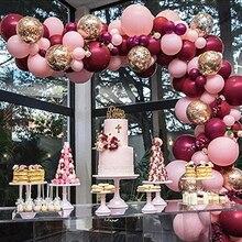 112 pz/set Baby Pink borgogna palloncini ghirlanda arco coriandoli Ballon matrimonio Baby Shower decorazioni per feste di compleanno bambini Globos