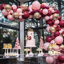 112pcs/Set Baby Pink Burgundy Balloons Garland Arch Confetti Ballon Wedding Baby Shower Birthday Party Decorations Kids Globos