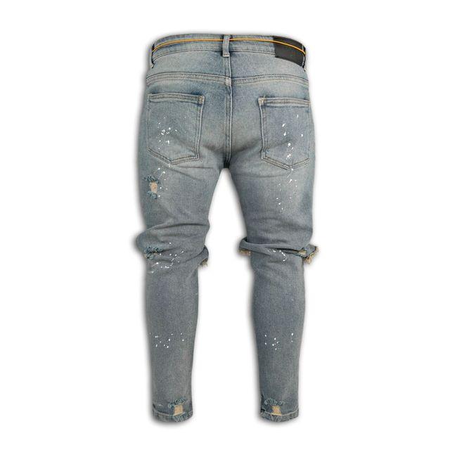 Pantalones vaqueros elásticos para hombre, Jeans ajustados con cremallera en el tobillo, diseño de punto de pintura rota 5
