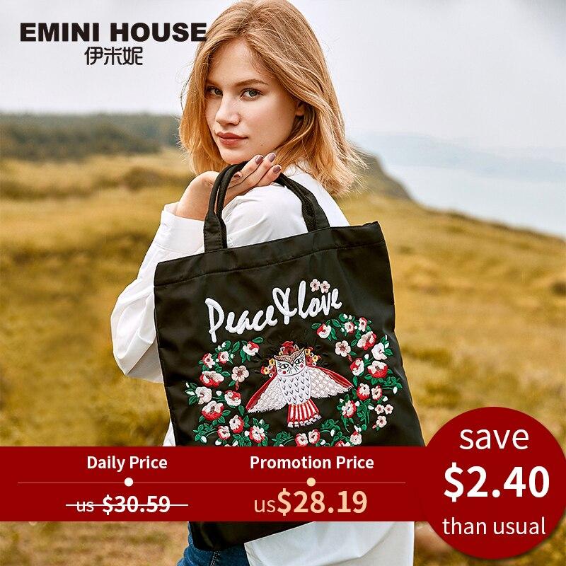 Tote-Bag Embroidery Emini-House Foldable Nylon Women Fashion-Design for Roomy