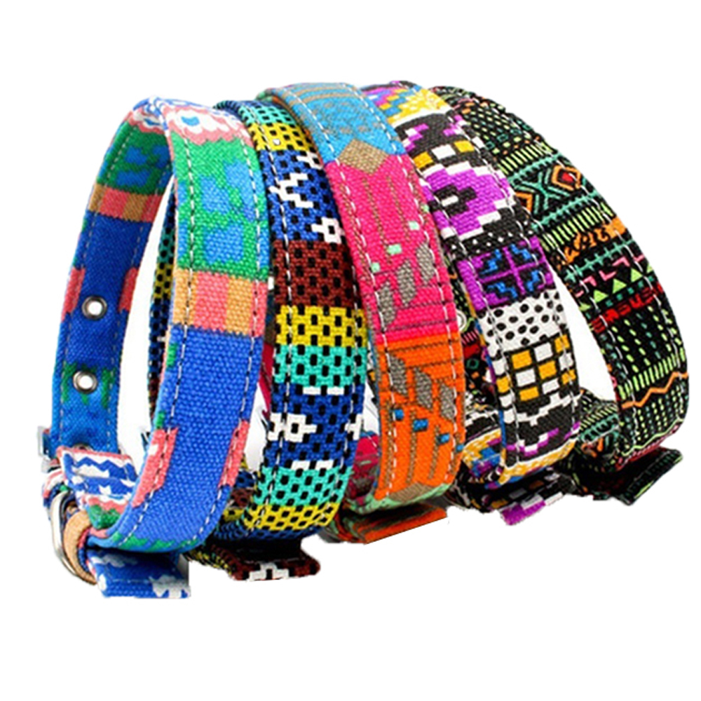 Pet Supplies Double Canvas Harness Dog Collar Colorful Adjustable Pet Collar XS-L for Small and Medium Large Dogs
