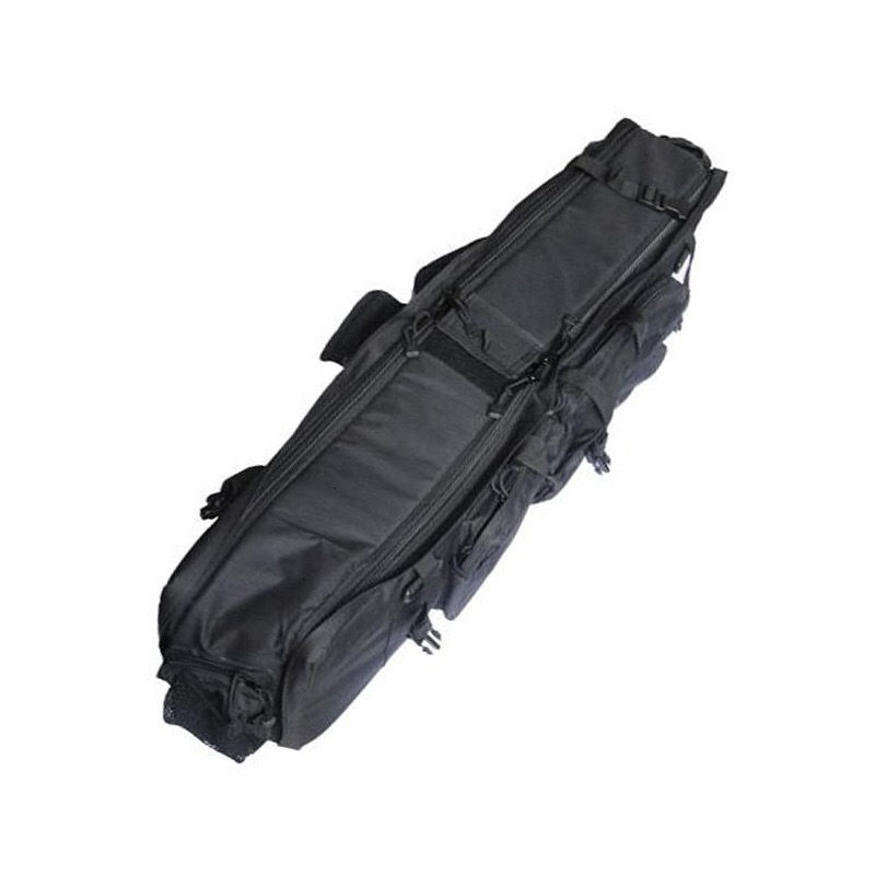 Black Tactical Bag Double Package Capacity Angle View