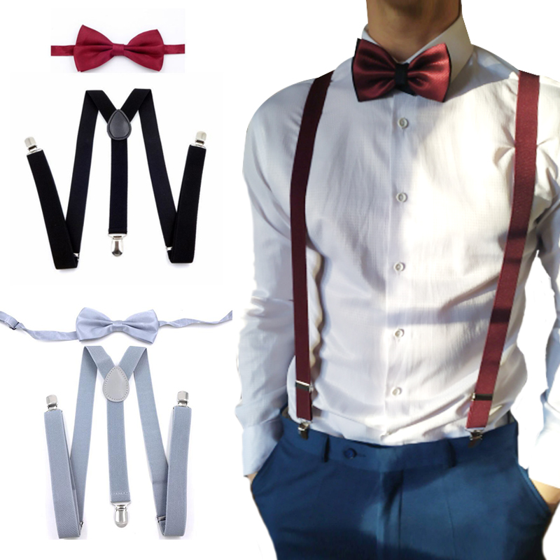 Suspenders with Bowtie Fashion Men Bow Tie Set Mens Braces Womens Adjustable Suspenders Pants  Wedding Ties Accessories