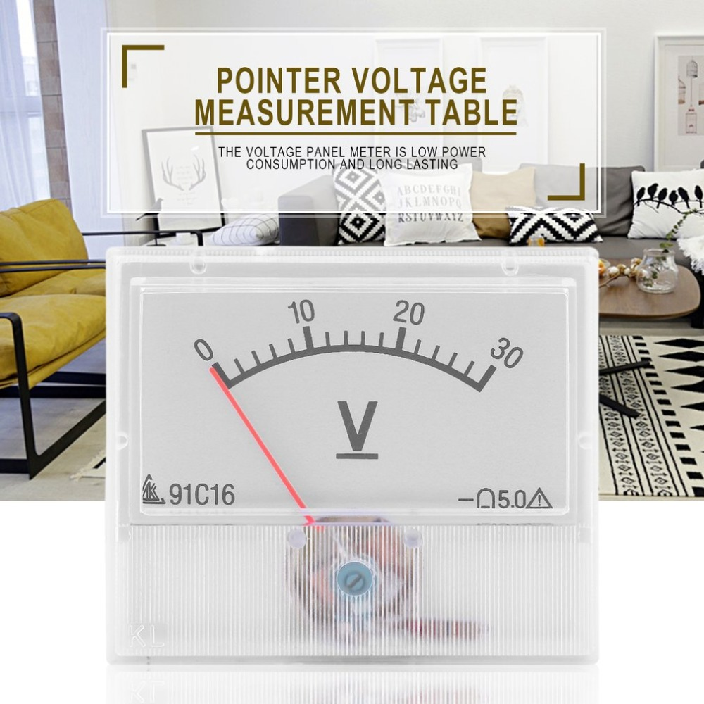 Professional <font><b>0</b></font>-<font><b>30V</b></font> <font><b>DC</b></font> Analog Volt Voltage Panel Meter Voltmeter Gauge With Class 2.5 Accuracy Tester Diagnostic Tool image