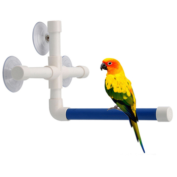 Pet Birds Shower Perches Toys Bird Bath Standing Platform Rack Wall Suction Cup Parrot Budge Paw Grinding Stand Toy NEW image