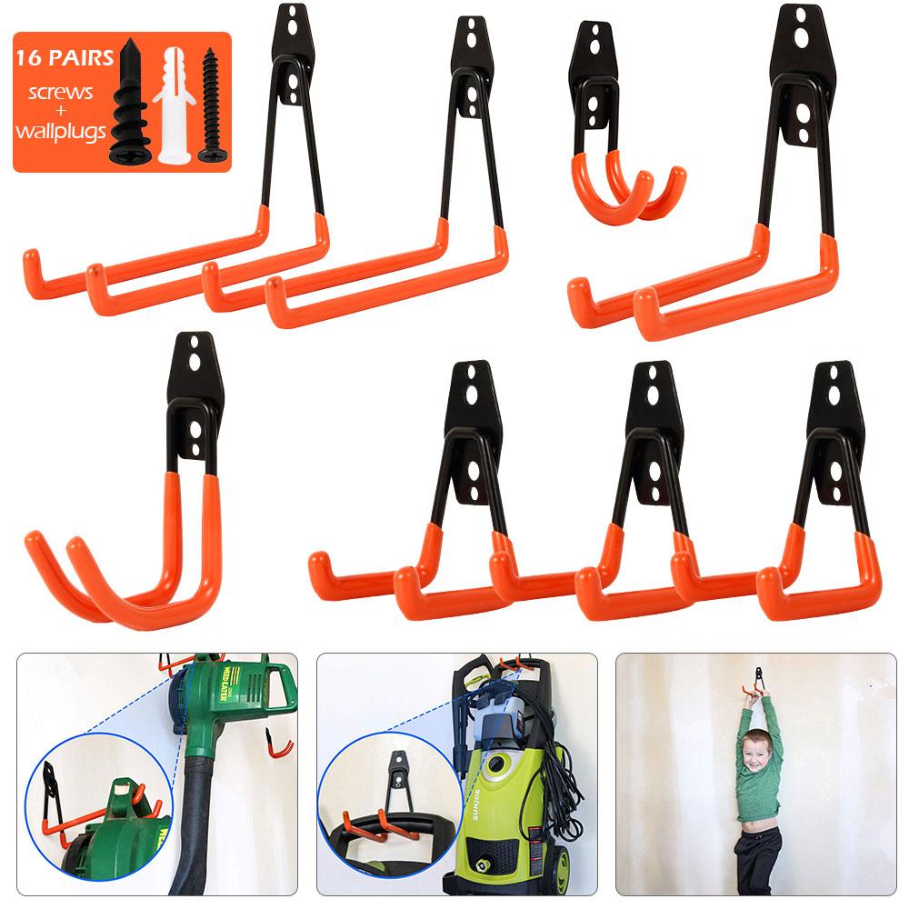 Wall-mounted Garage Hooks Set Bicycle Hanger Hook Hanging Tool Metal Hook Warehouse Storage Tool Garden Bathroom Storage Hanging