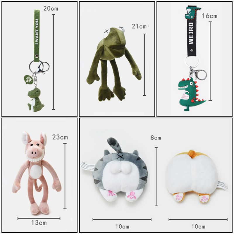 Lucu Kartun Hewan Plush Mainan Gantungan Kunci Ransel Gantungan Kunci Panjang Kaki Katak Kucing Pantat Dinosaurus Lion Fox Hiu Roti Anjing Hadiah untuk Teman