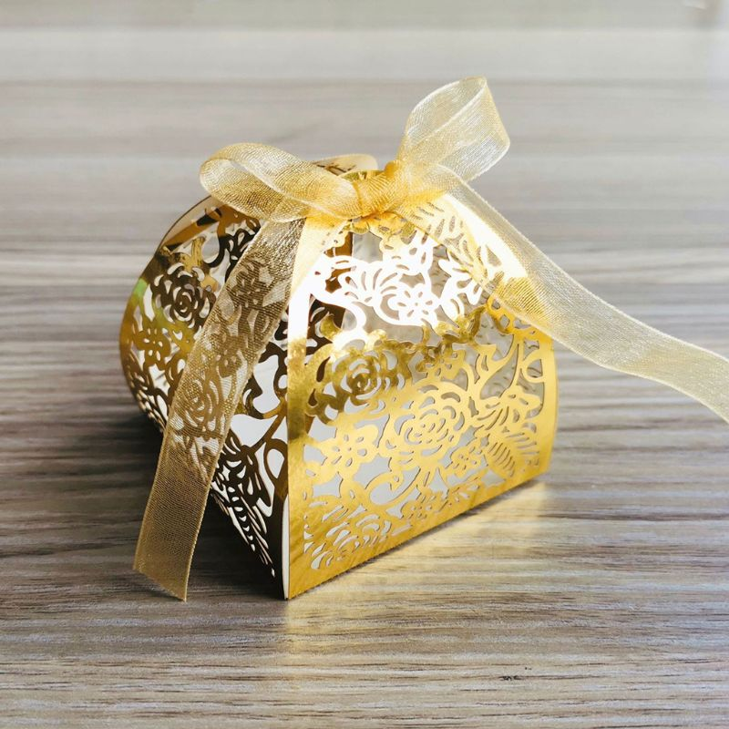 25pcs/set Rose Flower Laser Cut Hollow Favors Gifts Candy Boxes With Ribbon Baby Shower Wedding Party Supplies 449E