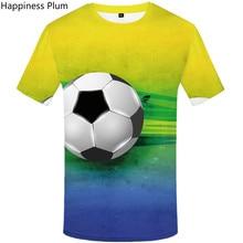 3D print Brazil T Shirt 2019 Summer  Men Green Ball fitness t shirt men Anime Clothes mens shirts fashion designer