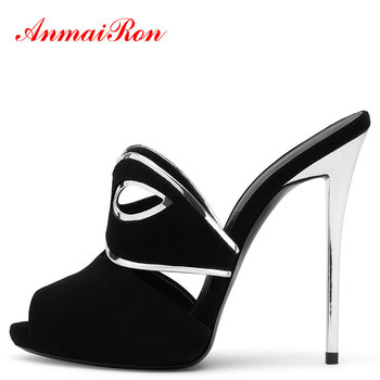 ANMAIRON Women Shoes Flock Fashion Solid Summer Sexy Thin High Heels Outside Women Slippers Platform  Microfiber Slippers Women