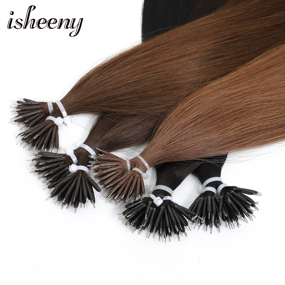 14 Inches Straight Micro Beads European Remy Nano Ring Links Human Hair Extensions 0.6g/stand Blonde Black 10 Colors