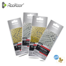 Rookoor 6 7 8 9 10 11 Speed Bicycle Chain Titanium Plated Gold TI-Gold Silver Road Mountain Bike MTB EL Hollow Chains 116 Links
