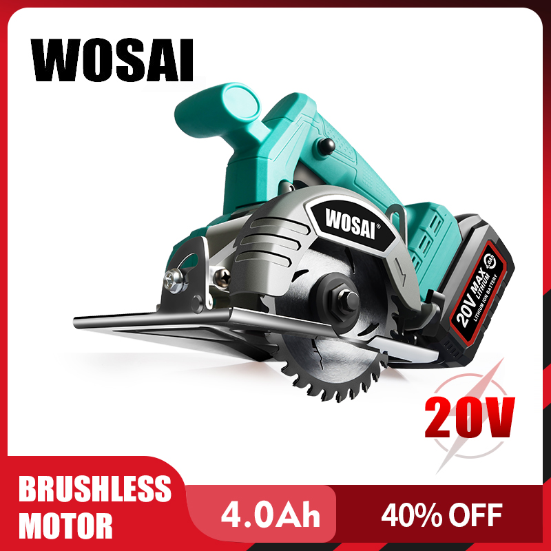 WOSAI 20V Brushless Circular Saw Power Tools Saw Blades 110mm Blade For Wood Circular Saw High Power And Cutting Machine