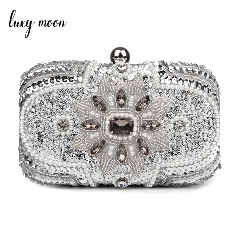 Silver Clutch Purse Glitter Women Beaded Clutch Evening Bags With Chains Handbag Wedding Party Bag Banquet Pochette Femme W611