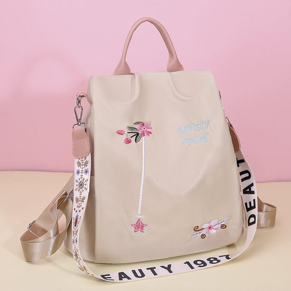 Casual Oxford Cloth Women Backpack Flower Embroidered Female Shoulder School Book Bags Daily Travel Anti Theft Bagpack Rucksack