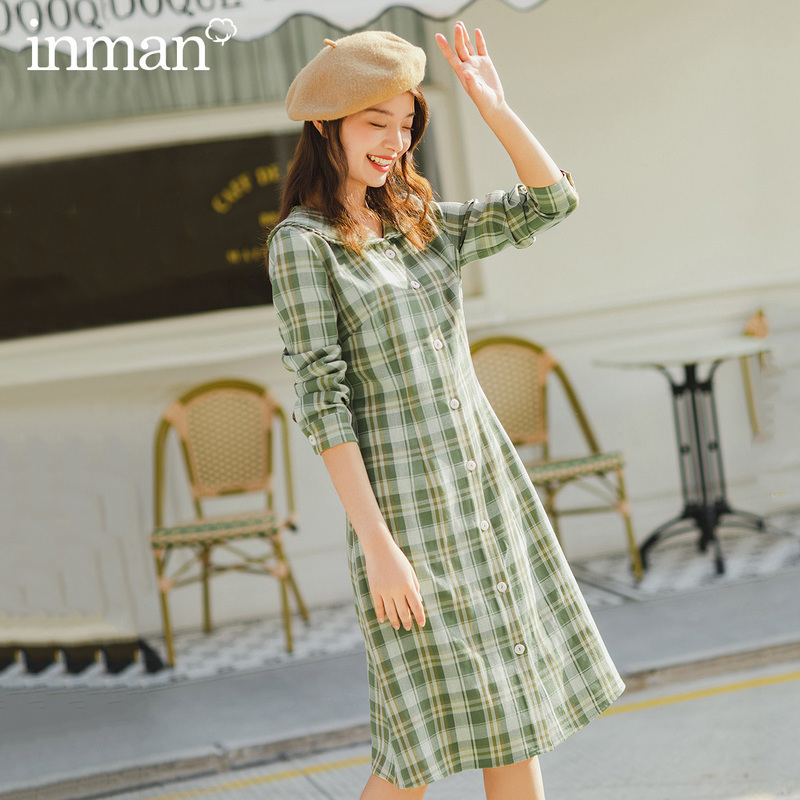 INMAN 2020 Spring New Arrival Literary Doll Collar Age-reducing Single-breasted Check Long Sleeve Dress